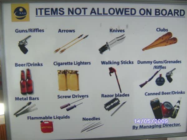 Elementos que no se permiten arriba de un avión